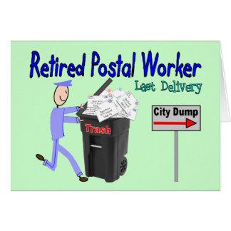 Entrega jubilada del último del empleado de correo tarjetas
