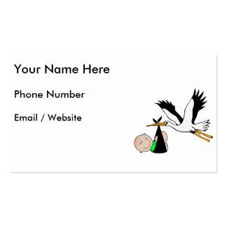 Entrega recién nacida por la cigüeña tarjetas de visita