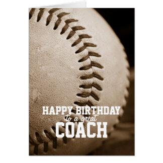 Entrenador de béisbol del feliz cumpleaños tarjeta
