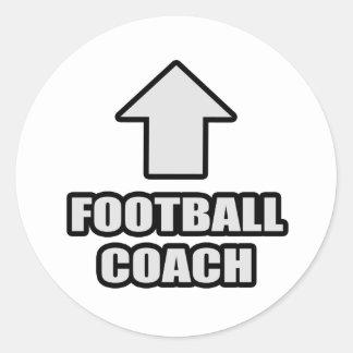 Entrenador de fútbol de la flecha etiqueta redonda