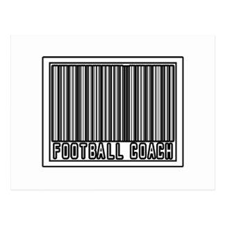 Entrenador de fútbol del código de barras tarjeta postal
