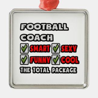 Entrenador de fútbol… el paquete total adorno navideño cuadrado de metal