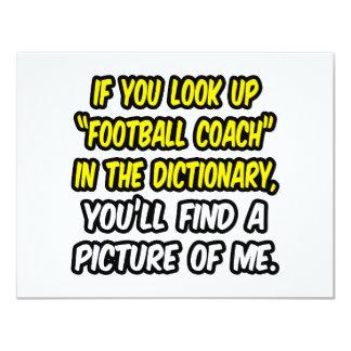 Entrenador de fútbol en diccionario… mi imagen invitación 10,8 x 13,9 cm