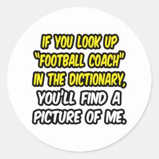 Entrenador de fútbol en diccionario… mi imagen etiquetas redondas