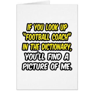 Entrenador de fútbol en diccionario… mi imagen tarjeta de felicitación