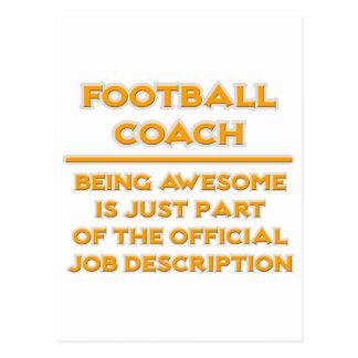 Entrenador de fútbol impresionante. Descripción de Postal