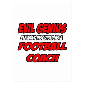 Entrenador de fútbol malvado del genio… tarjeta postal