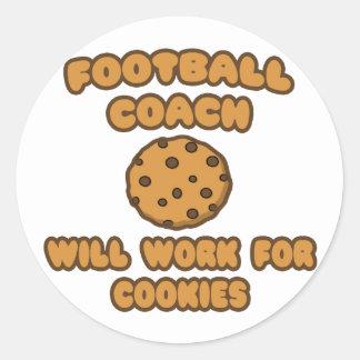 Entrenador de fútbol. Trabajará para las galletas Etiquetas Redondas