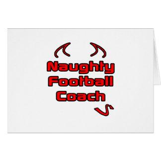 Entrenador de fútbol travieso tarjeta de felicitación