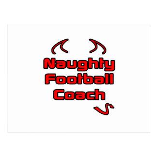 Entrenador de fútbol travieso tarjeta postal