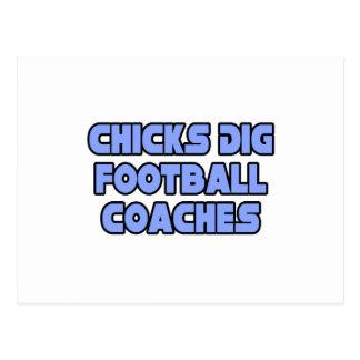 Entrenadores de fútbol del empuje de los polluelos postal