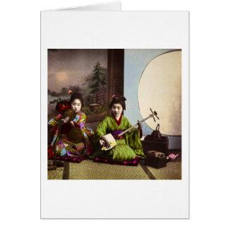 Entretenimiento japonés del Musical del geisha del Tarjeta De Felicitación