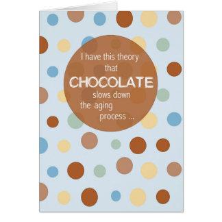 Envejecimiento del cumpleaños, humor del chocolate tarjetas