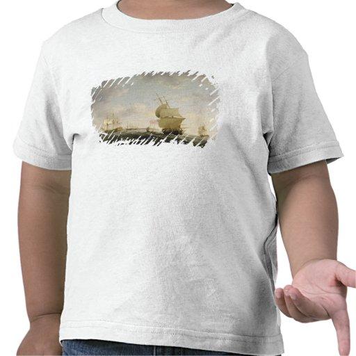 Enviando en el canal inglés, c.1755 (aceite en el camiseta