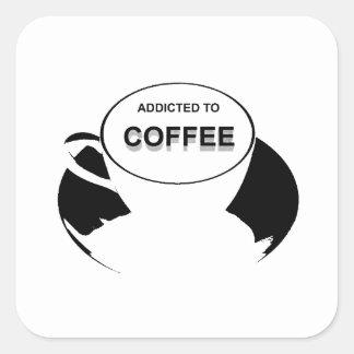 Enviciado al negro del café pegatina cuadrada
