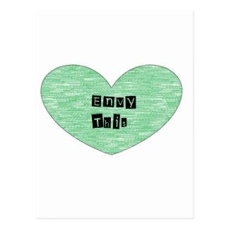 Envidia verde este corazón postal