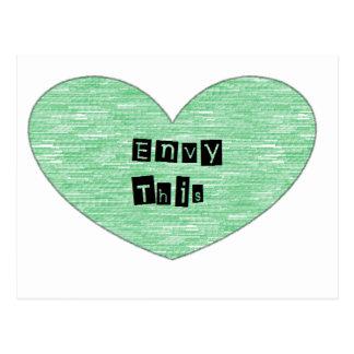 Envidia verde este corazón tarjetas postales