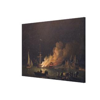 Envíe en el fuego en la noche, c.1756 (el aceite e lona envuelta para galerias