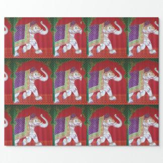 Envoltura roja y verde del elefante indio del arte papel de regalo