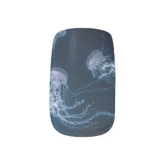Envolturas Para Uñas Arte azul del clavo de los pescados de jalea