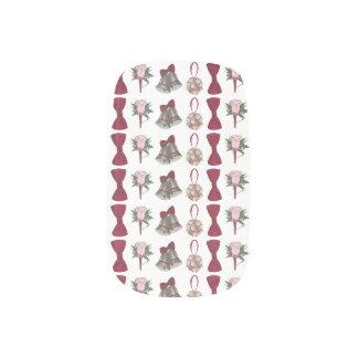 Envolturas Para Uñas Arte color de rosa rosado del clavo de la novia de