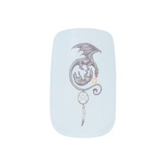 Envolturas Para Uñas Arte del clavo del lobo del dragón en azul