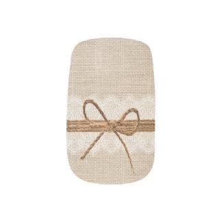 Envolturas Para Uñas Arte rústico del clavo del boda de la guita de la