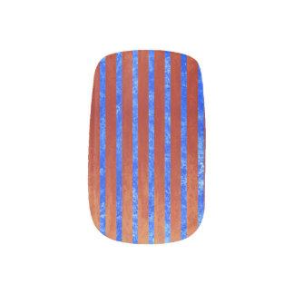 Envolturas Para Uñas Azul imponente y rojo rayados