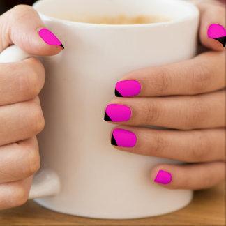 Envolturas Para Uñas Clavos rayados negros rosados de la moza descarada