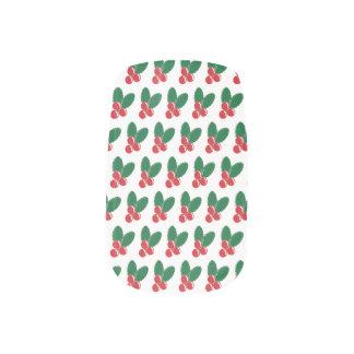Envolturas Para Uñas El verde rojo de las bayas del navidad deja el