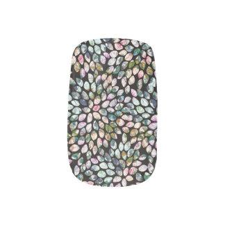 Envolturas Para Uñas Etiquetas florales gráficas multicoloras negras