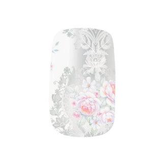 Envolturas Para Uñas hermoso, de seda, damasco, rosa, rosas, vintage,