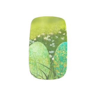 Envolturas Para Uñas Huevos de Pascua en verdes y azules de la