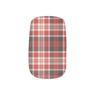Envolturas Para Uñas Modelo rojo y negro de la tela escocesa