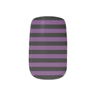 Envolturas Para Uñas Rayas negras y púrpuras del gótico del Punky