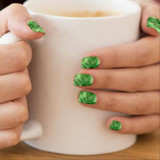 Envolturas Para Uñas Verde lima de hoja de palma de la impresión, de la