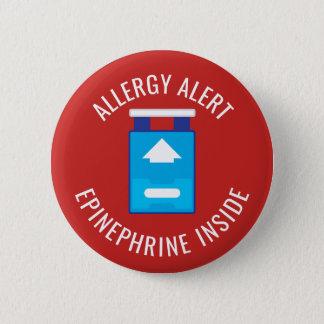 Epinefrina alerta de la alergia dentro de niños chapa redonda de 5 cm