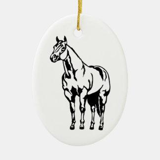 Equestrian cuarto americano con tirante y espalda adorno navideño ovalado de cerámica