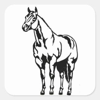 Equestrian cuarto americano con tirante y espalda pegatina cuadrada
