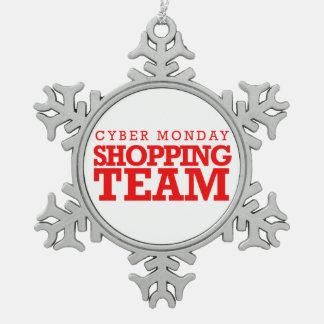 Equipo cibernético de las compras de lunes -- adorno de peltre en forma de copo de nieve