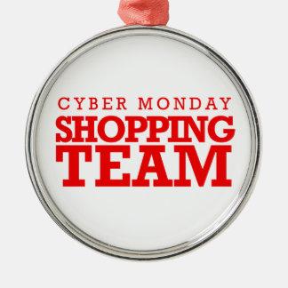 Equipo cibernético de las compras de lunes -- adorno redondo plateado