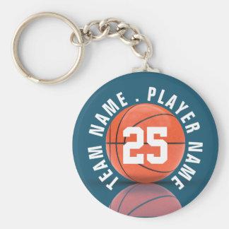 Equipo de baloncesto de encargo llavero redondo tipo chapa