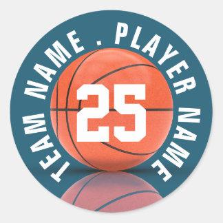 Equipo de baloncesto de encargo pegatina redonda