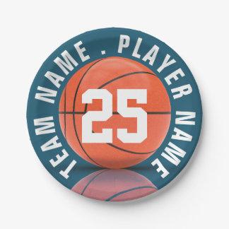 Equipo de baloncesto plato de papel