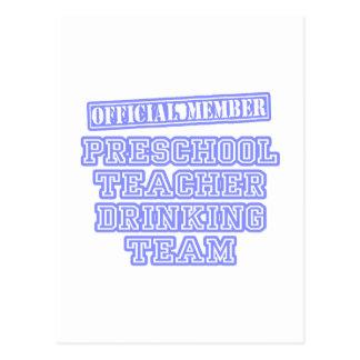 Equipo de consumición del profesor preescolar tarjeta postal