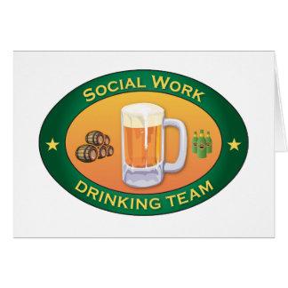 Equipo de consumición del trabajo social tarjeta de felicitación