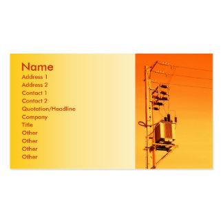 Equipo de la distribución de la electricidad tarjetas de visita