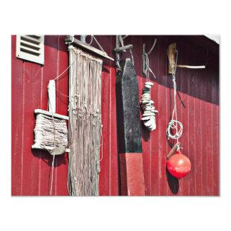 Equipo de las artes de pesca invitación 10,8 x 13,9 cm