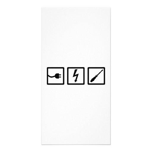 Equipo del electricista tarjeta fotográfica