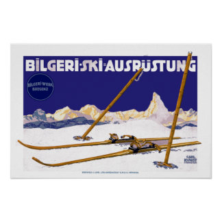Equipo del esquí de Carl Kunst Bilgeri del vintage Póster